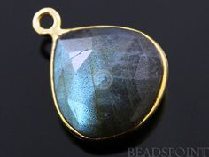 Natural Labradorite Faceted Bezel Heart 24K Gold by Beadspoint, $8.99