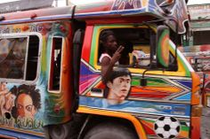 colourful Haitian bus on the streets of Port-au-Prince in 2006; Photo credit: Kati Byrne