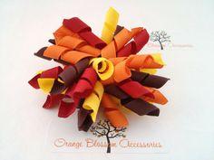 Curly Korker Bow Hair Clip Fall Autumn Colors by OrangeBlossomAccess, $5.25 #korker #bow #fall #autumn