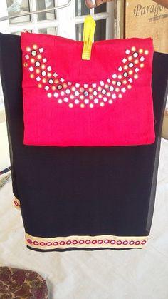 Mirror work blouse and Saree