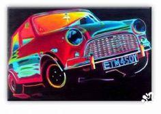 Austin Mini Cooper Pop Art Canvas Painting | Modern Canvas Art