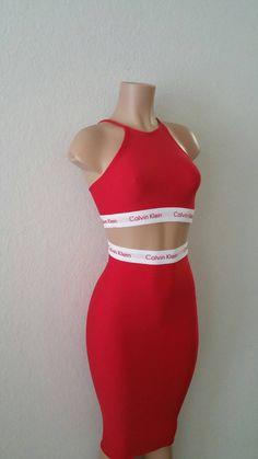 Restructured Calvin Klein Crop Top Skirt Set by PaperdollzApparel