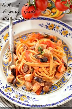 Pasta with Sicilian swordfish sauce- Pasta al sugo di pesce spada alla siciliana Pasta with Sicilian swordfish sauce -… - Cannelloni Ricotta, Focaccia Pizza, My Favorite Food, Favorite Recipes, Shellfish Recipes, Gnocchi, Linguine, Sicilian, Penne