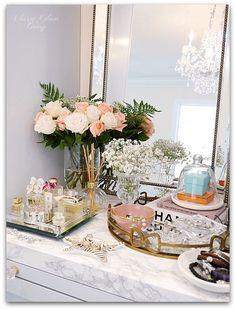 Adding Glam to Your Boudoir - a vanity decor, vanity trays Perfume Display, Perfume Tray, Tray Styling, Glam Room, Bedroom Decor Glam, Bedroom Ideas, Vanity Tray, Jewellery Display, Jewellery Holder
