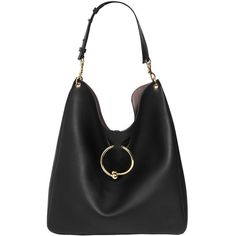 J.w.anderson Women Large Pierce Hobo Leather Bag (£1,760) ❤ liked on Polyvore featuring bags, handbags, shoulder bags, black, hobo handbags, leather shoulder bag, real leather shoulder bags, leather handbags and hobo shoulder handbags