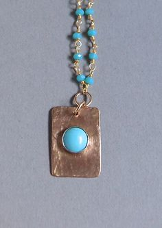 Turquoise Pendant Necklace gold filled chain necklace Rectangle Pendant Artisan Made Bead Jewelry by ShillyShallyjewelry on Etsy