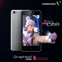 Ace the art of taking the best & brighter selfie with 3.2 MP Front Camera with Selfie LED Flash on #Videocon Graphite 1. Explore more: http://www.videoconmobiles.com/graphite1-v45ed