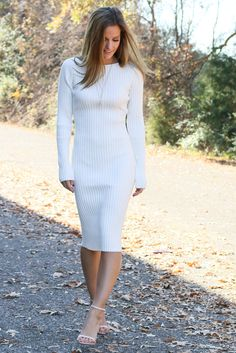 Cold Weather Dreams Ivory Ribbed Midi Sweater Dress