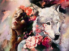 Wolf Painting, Diy Painting, Painting & Drawing, Dimitra Milan, Art Manga, Kunst Online, Surrealism Painting, Arte Pop, American Artists