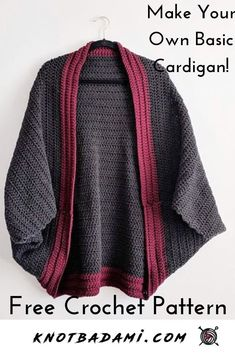 Learn how to create your own beautiful cardigan with this free crochet pattern! this basic and beginner friendly DIY project is perfect for any crocheter and works with by making a giant square / rectangle. A lightweight piece that is perfect for any mont Gilet Crochet, Crochet Cardigan Pattern, Crochet Jacket, Easy Crochet Patterns, Crochet Shawl, Knit Crochet, Crochet Gratis, Crochet Sweaters, Pull Crochet