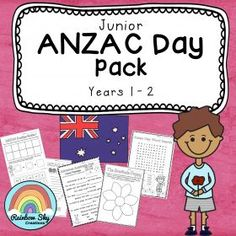 ANZAC Day Teaching pack for Year 1 and Year 2. Includes Literacy and Numeracy based tasks that could be used during group work or as whole class activities leading up to or on ANZAC Day. ~ Rainbow Sky Creations ~
