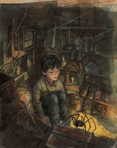 Harry in the cupboard under the stairs, from Jim Kay's illustrated edition of Harry Potter and the Sorcerer's Stone. (via i09)