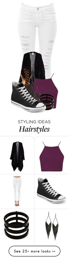 """""""hotline bling"""" by trillambition136 on Polyvore featuring Frame Denim, Topshop, GUESS, Repossi and Converse"""