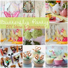 Butterfly Party Ideas and Inspiration Butterfly Garden Party, Butterfly Birthday Party, Birthday Party Decorations, First Birthday Parties, First Birthdays, Diy Butterfly, Birthday Ideas, Table Decorations, Festa Party