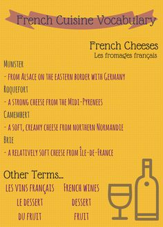 French Cuisine Vocabulary - French Cheeses http://takelessons.com/blog/french-vocabulary-food-cooking-and-meals-z04?utm_source=social&utm_medium=blog&utm_campaign=pinterest