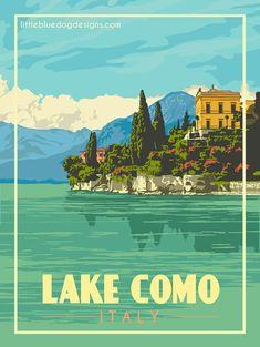 © 2021 Little Blue Dog Designs Bagan, Vintage Travel Posters, Vintage Postcards, Lake Como Italy, Vintage Italy, Travel Memories, Advertising Poster, Minimalist Poster, Dog Design