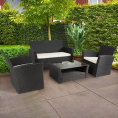 4pc Outdoor Patio Garden Furniture Wicker Rattan Sofa Set Black ** Learn more by visiting the image link.