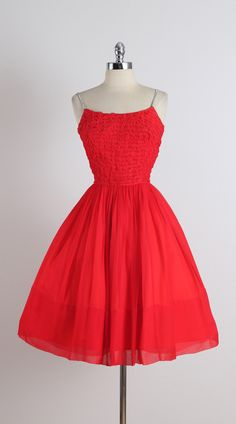Vintage 1950s Red Crepe Chiffon Rhinestone Dress at 1stdibs