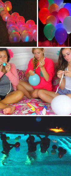 Glowstick Balloon Floaties   17 DIY Slumber Party Ideas for Teens