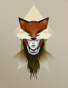 Power Animal: Fox 2 |by Zac Neulieb #illustration #girl #fox