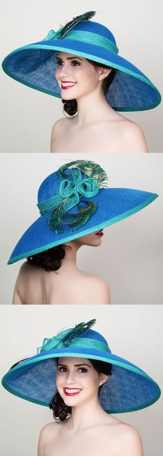 Blue and Jade Green Peacock Feather Large Big Brim Hat. Mother of the bride, or outfit for day at the races, royal ascot, kentucky derby, epsom derby. Aintree, Ascot Ladies Day outfits. Outfit inspiration Day at the Races, weddings. Wedding Outfits #weddings #fashion #racingfashion #bighats #kentuckyderby #royalascot #ladiesday #fascinators #derbyoutfits #etsyfinds #derbyhats #affiliatelink #outfitideas #passion4hats #racingfashion