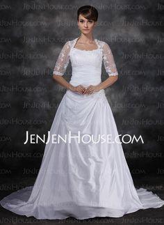 Wedding Dresses - $189.99 - A-Line/Princess Sweetheart Court Train Taffeta Tulle Wedding Dresses With Ruffle Lace (002017121) http://jenjenhouse.com/A-line-Princess-Sweetheart-Court-Train-Taffeta-Tulle-Wedding-Dresses-With-Ruffle-Lace-002017121-g17121