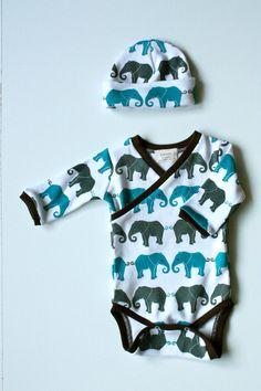 kimono onesie newborn | Newborn Elephant Print Kimono Style Onesie and Hat Set by ZaaBerry