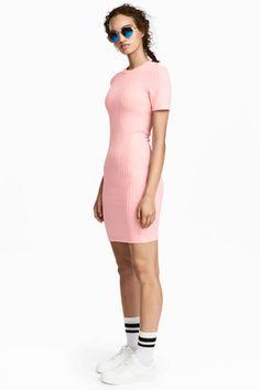 Vestido en punto de canalé - Rosa claro - MUJER | H&M ES 1