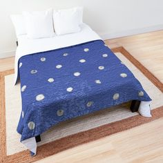 """Velvet Blue Polka Dots Silver Foil"" Comforter by MYSTIQU3 
