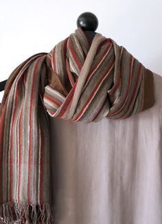 stripy silk wool scarf  natural dyes