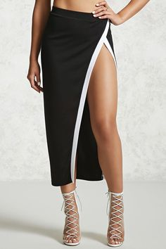 Contrast Stripe Midi Skirt