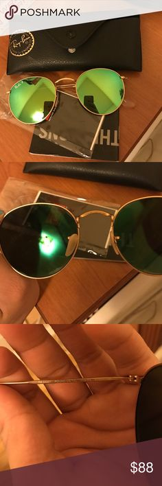 Ray Ban Sunglasses Used 2-3 times, some scratches minor, and there scratches in the inside as pictures ☝🏻but are not noticeable when wearing or in the inside. These cost me $200 plus taxes, they are 100 authentic and are in ok condition. Price is firm as I'm being fair to buyers and myself. Please read no offers ✖️✖️✖️ Ray-Ban Accessories Sunglasses