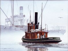 """IRENE ASSISTING A SMALL FREIGHTER"" - Watercolor, in Tugboat Paintings"