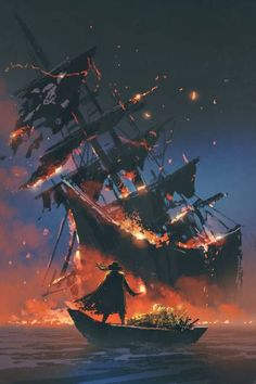 Illustration about The pirate with burning torch standing on boat with treasure looking at sinking ship, digital art style, illustration painting. Illustration of water, dark, sailboat - 95407324 Pirate Art, Pirate Life, Pirate Ships, Arte Assassins Creed, Old Sailing Ships, Sea Of Thieves, Ship Paintings, Ghost Ship, Fantasy Landscape
