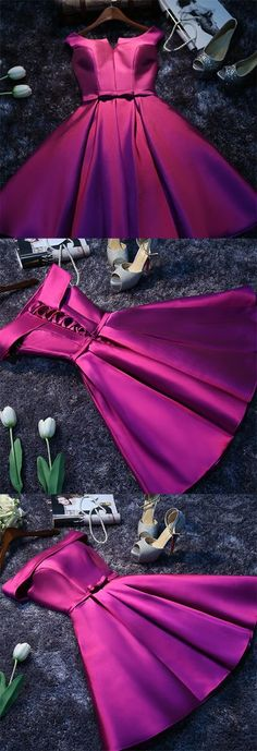 Purple Cheap Short Prom Dresses for GirlsSimple Satin Homecoming Dress