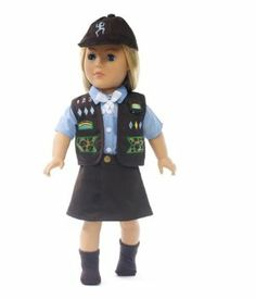 """18 Inch Doll Clothes Like Brownie Girl Scout Outfit - Fits 18"""" American Girl Dolls by Wish Doll Company. $19.90. Made to fit 18 Inch dolls such as American Girl, Madame Alexander, My Generation, etc.. Includes vest with embroidered patches, blue shirt with white bow, brown socks and a brown beanie. Luxurious high quality fabrics, machine washable, safety tested. Great value for a six piece outfit!. Your doll can attend meetings with you when she dresses in this Girl's Clu..."""