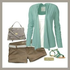 Love the turquoise sweater and sandles.