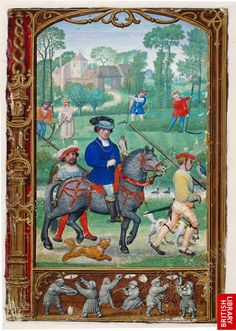 "1540s book of hours, ""The Golf Book"" by Flemish artist Simon Bening. ""In the miniature for July, the aristocratic pastime is in the foreground; a hunting party sets out with falcons and dogs. In the background, labourers are mowing and haymaking. Behind the labourers a group of buildings can be seen in the distance as well as a man on horseback."""