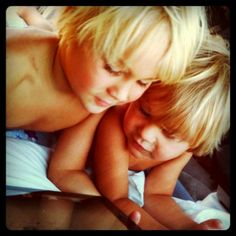 Asher & Gavan my sweet boys. Blonde brothers cuddling