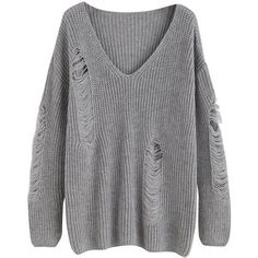 MakeMeChic Women's V-Neck Ripped Long Sleeve Knit Loose Pullover... (665 UAH) ❤ liked on Polyvore featuring tops, sweaters, gray sweater, grey pullover sweater, ripped sweaters, gray knit sweater and v neck knit sweater