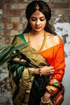Modern Classic green hot saree for parties. For order whatsapp us on farewell farewell modern farewell teenagers farewell classy fat women teenagers modern indian for girls classy Bridal Silk Saree, Saree Wedding, Hair Wedding, Wedding Makeup, Beautiful Saree, Beautiful Indian Actress, Beautiful Women, South Indian Bride, Indian Bridal