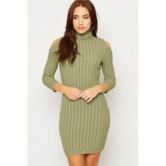 Lenore Knitted Cold Shoulder Ribbed Jumper Dress (£15) ❤ liked on Polyvore featuring dresses, green, cut-out dresses, green dress, long-sleeve turtleneck dresses, long sleeve mini dress and green turtleneck