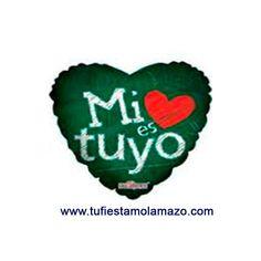 """Globo corazón verde """"Mi corazón es tuyo"""" 46 cm. www.tufiestamolamazo.com"""