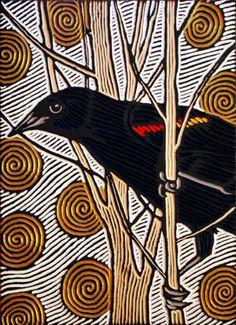Red-winged blackbird painted woodcut block on salvaged Douglas Fir x x 2010 Lisa Brawn Linocut Prints, Art Prints, Block Prints, Art And Illustration, Illustrations, Sgraffito, Bird Drawings, Art Graphique, Wood Engraving