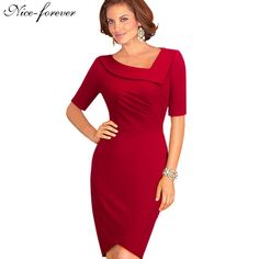 Nice-forever Vintage Red Elegant Casual Work Half Sleeve Asymmetrical Neck Celebrity Bodycon Knee Women Office Pencil Dress B327