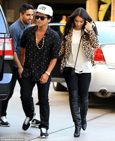 Stars were out: Bruno Mars, 30, and his model girlfriend Jessica Caban, 34…