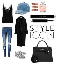 """Noora S"" by martinehjelvik on Polyvore featuring WithChic, adidas Originals, Mudd, MAC Cosmetics, Marni and Hermès"