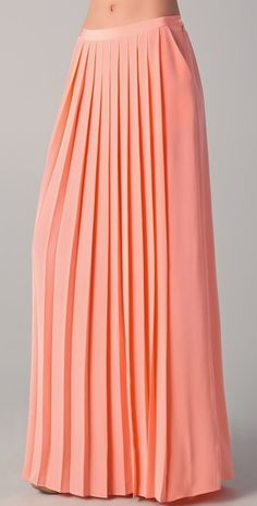 TIBI  peach maxi skirt with box pleats across center. (Exclusive to Shopbop).