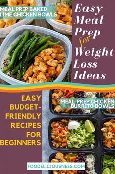 Looking for some easy meal prep for weight loss idesa? I ve got a detailed article about 16 budget-friendly recipes for beginners Meal Prep Bowls, Easy Meal Prep, Healthy Meal Prep, Easy Meals, Healthy Recipes, Chicken Meal Prep, Chicken Recipes, Veggie Rice Bowl, Side Dishes For Chicken