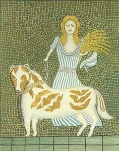 Girl with Dog by Morris Hirshfield, American Folk artist, born Poland (1872–1946)